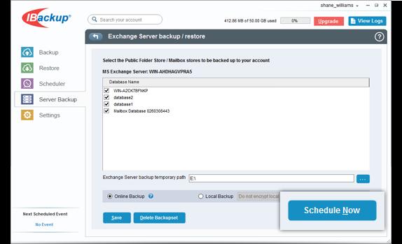 Online backup of MS Exchange Server - Steps